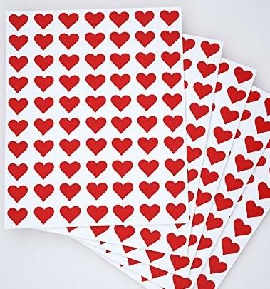 etichete printate cu inimioare rosii